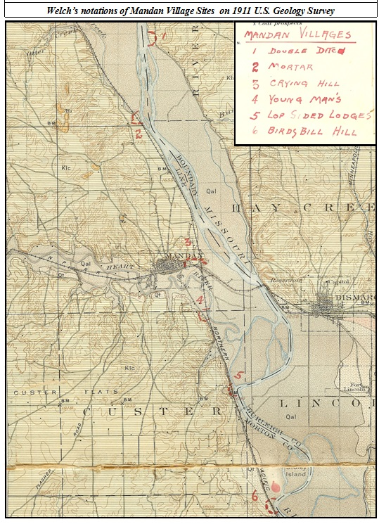 Mandan Village Sites on 1911 U.S. Geological Survey