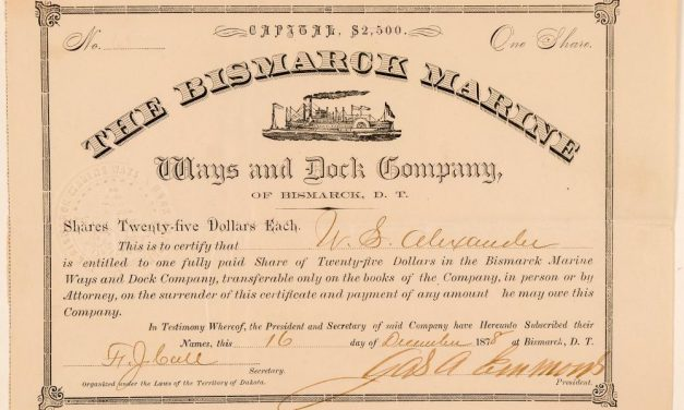Bismarck Marine Ways and Dock Company Stock Certificate